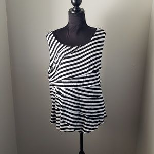 Torrid Black & White Striped Ruffled Tank Top